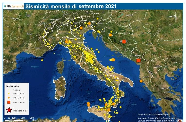 Le mappe mensili della sismicità, settembre 2021