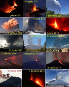 Alcune scene dell'attività del Nuovo Cratere di Sud-Est fra il 2011 e il 2017. Si nota come nei primi tre anni, l'attività è spesso stata fortemente esplosiva, mentre negli anni successivi è stata caratterizzata soprattutto da modeste, a volte anche violente esplosioni stromboliane. Foto di Boris Behncke