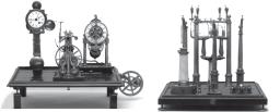 Figura 3 - L'originale sismoscopio di Luigi Palmieri, restaurato e conservato nel museo dell'Osservatorio Vesuviano. A sinistra l'apparato di registrazione, a destra i sensori.