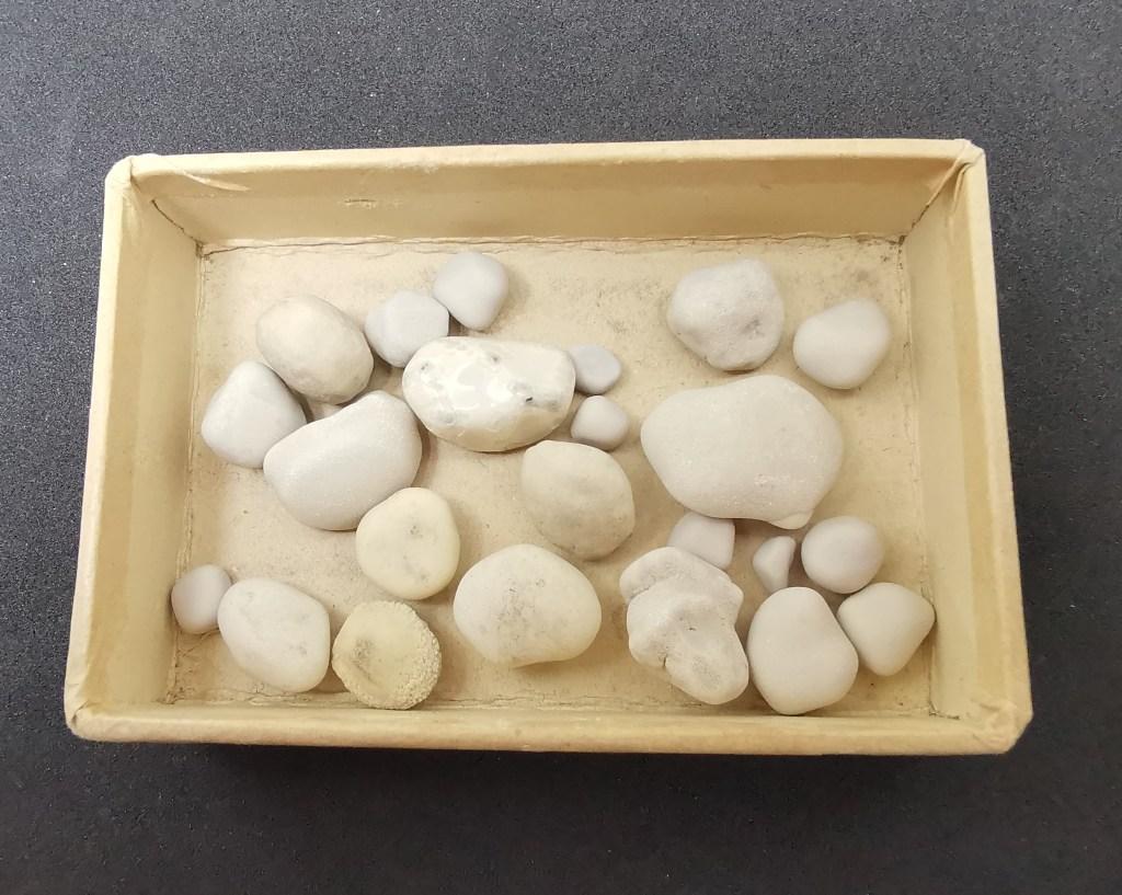 Figura 5 - Pisoliti carbonatiche dalle forme più o meno arrotondate, dimensione massima 3 cm.