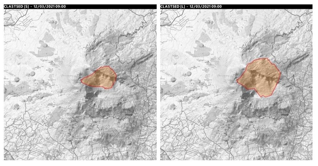 Figura 2. Simulazioni dell'area potenzialmente coinvolta dalla ricaduta dei frammenti vulcanici di grosse dimensioni (maggiori di 5 cm) utilizzando due scenari eruttivi basati sulle eruzioni dell'11 Gennaio 2011 (a sinistra) e 23 Novembre 2013 (destra).