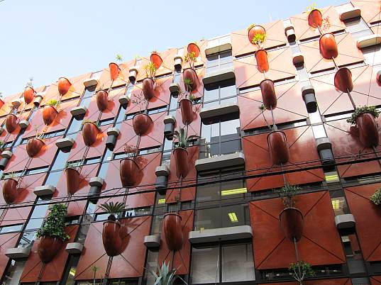 bamboo, living walls, vertical garden, gaetano pesce, organic building, nature inspired, osaka, japan, eco design, green building, sustainable building