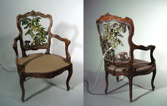 Chair I: Rococo Armchair Retrofit, Chair II: Ghost Chair Retrofit, Analog Media Lab, green furniture, living furniture, living seating, living chairs, plant chairs, bug chairs