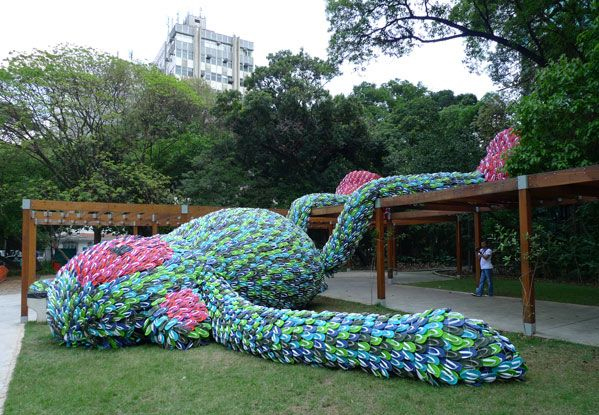 Flip flop monkey, Flip flops, art, sculptures, recyclable materials, pixel show, sao paolo, brazil, brazilian art