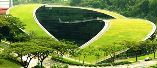 Green roof, greenroof, green roofs, on top of Singapore School of Art and Technology, School of Art, Design and Media at Nanyang Technological University in Singapore