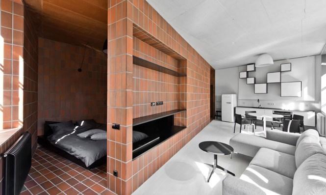 Tiny Lithuania Apartment Boasts A E Saving Split Personality