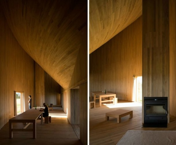 Pezo von Ellrichshausen, Rode House, home, home in chile, home design, cabin design, remote living, chilean architecture, wooden homes, reclaimed wood, home design, traditional carpentry, curved home, rounded homes, home architecture, chilean homes, coastal homes, wooden structures, boatmaking techinques