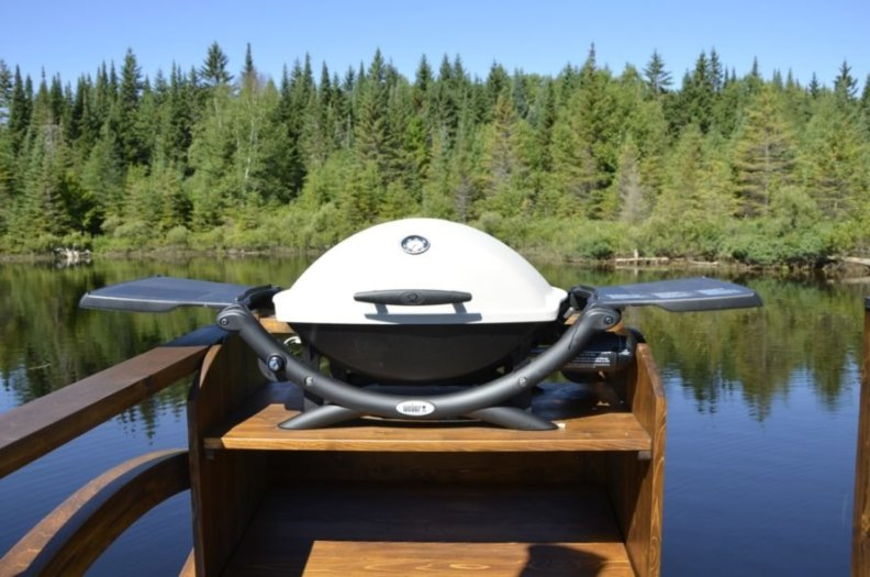 a bbq on a boat deck