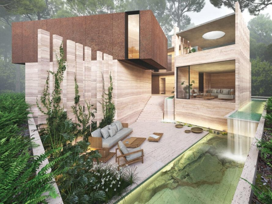 Conceptual Rammed Earth Home Harmonizes With An Indian Forest   Outside Stairs Design For Indian Houses   Family House   Metal   Creative   Middle House   Amazing