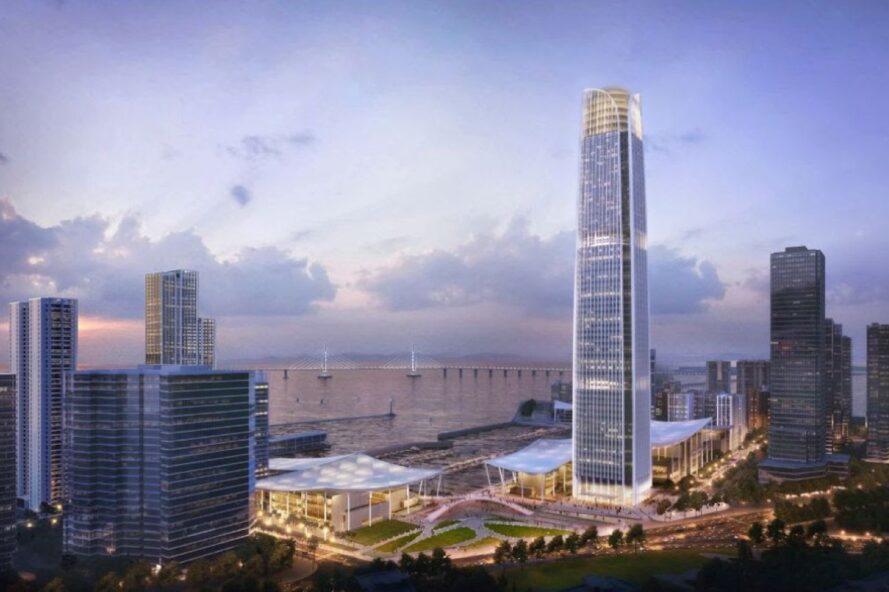 rendering of skyscraper in a city