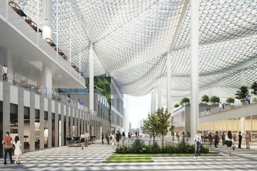 rendering of perforated canopies over an outdoor area