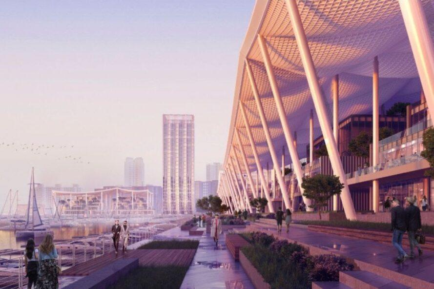 rendering of people walking on waterfront paths
