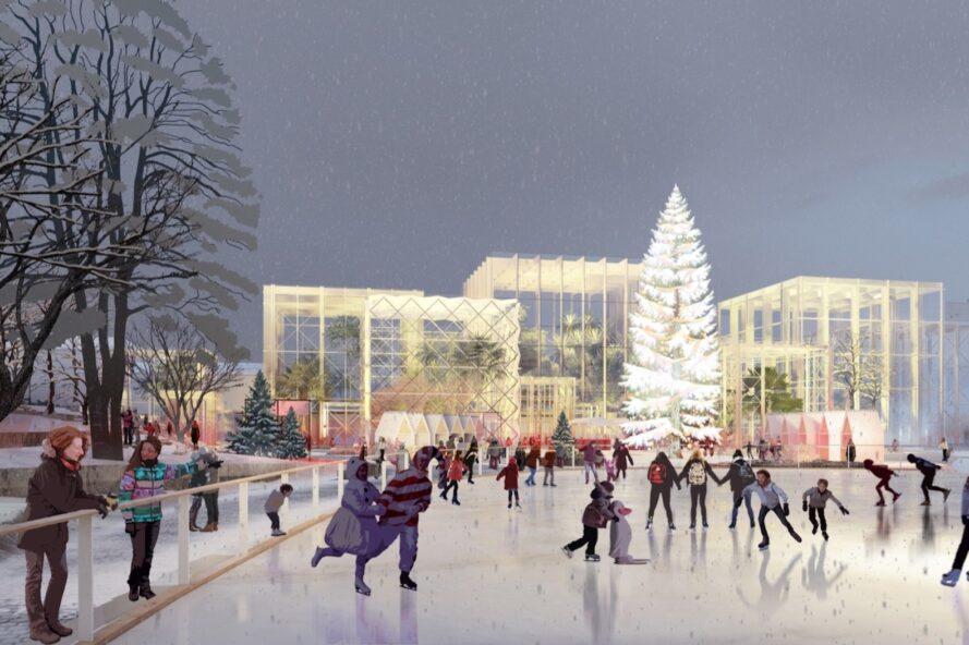 rendering of people skating in an ice rink