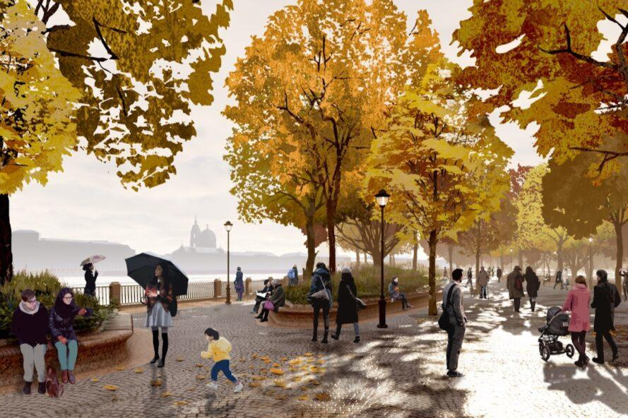 rendering of people walking through park on a rainy autumn day