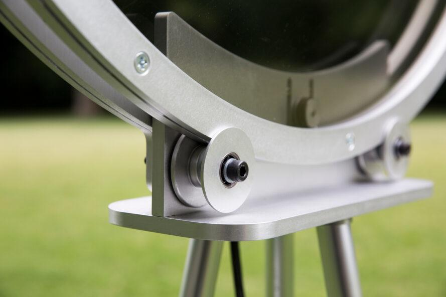 close-up of bolts in circular frame