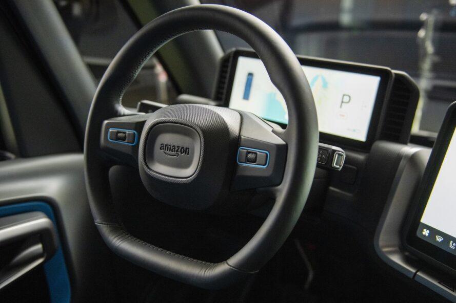 black steering wheel in an electric delivery van