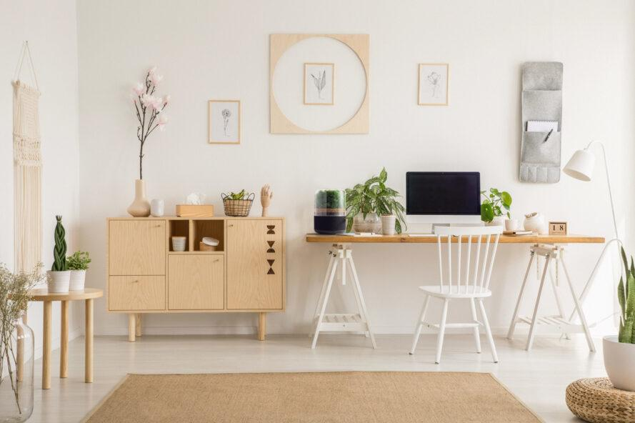 office with air purifier on wood desk