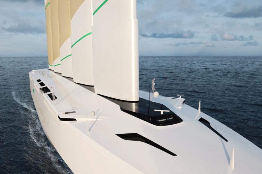 closeup rendering of front of white wind-powered ship
