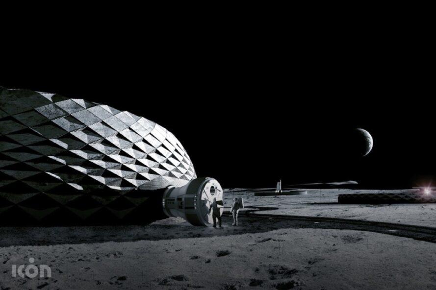 rendering of round white structure on the moon