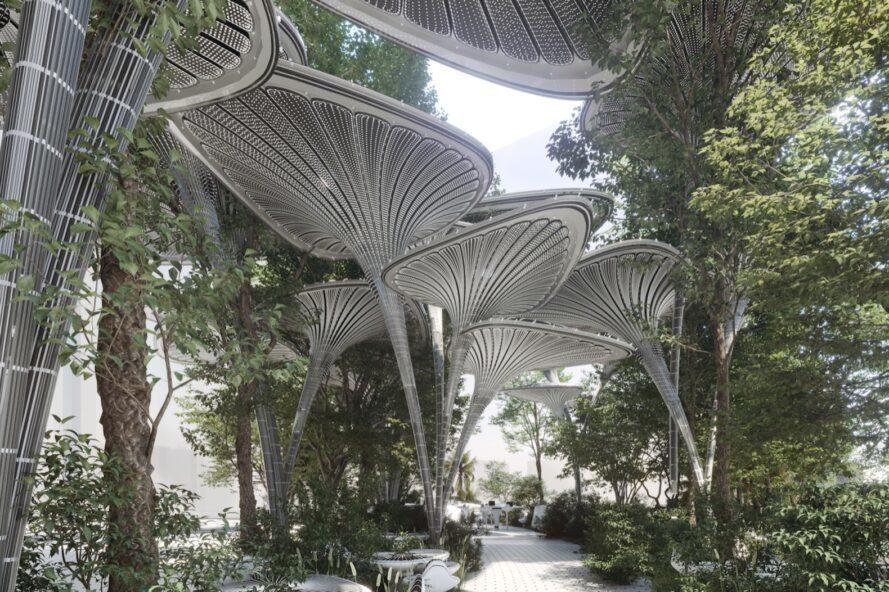 rendering of tall tree-like structures