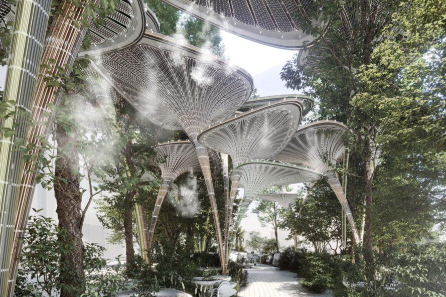 rendering of walkway winding beneath several tall shade-providing structures