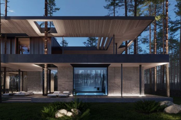 sauna enclosed in glass that connects to outdoor patio