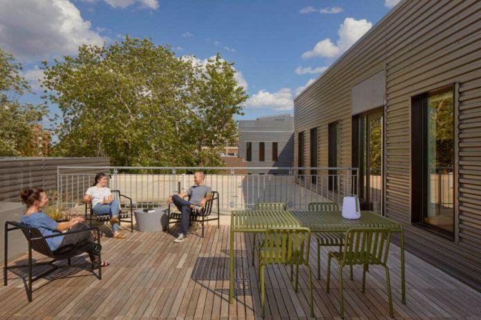 large wood patio