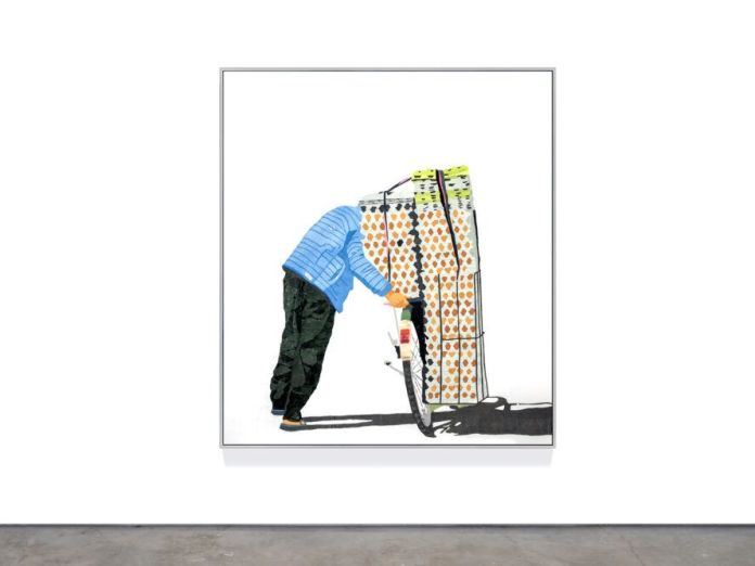 Art depicting person hauling boxes on a bike