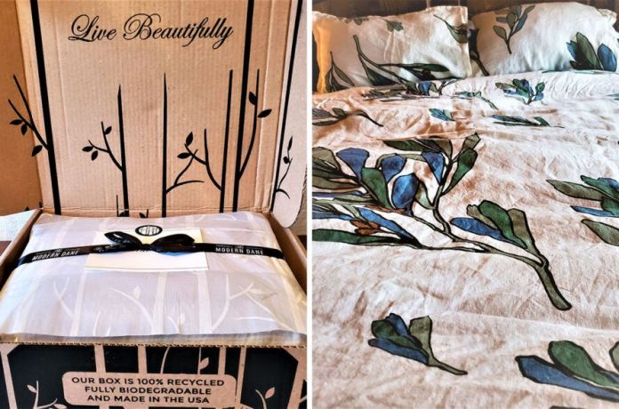 On the left, bedding in cardboard package. On the right, close-up of floral print bedding.