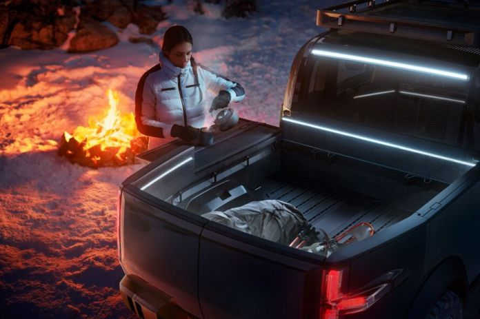 rendering of person pouring drink over bed of pickup truck with campfire in background
