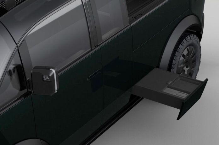 rendering of side drawer pulling out of a pickup truck
