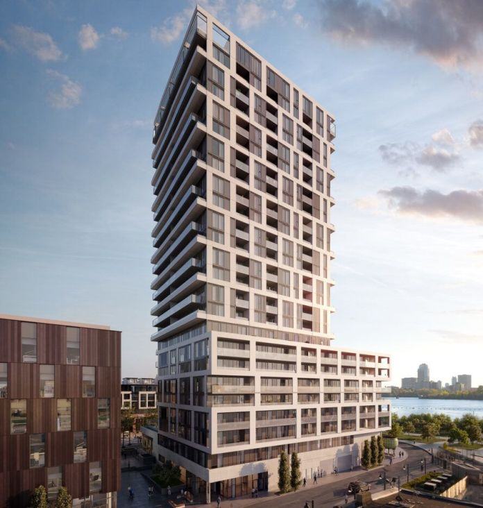 rendering of tall tower on city block at dusk