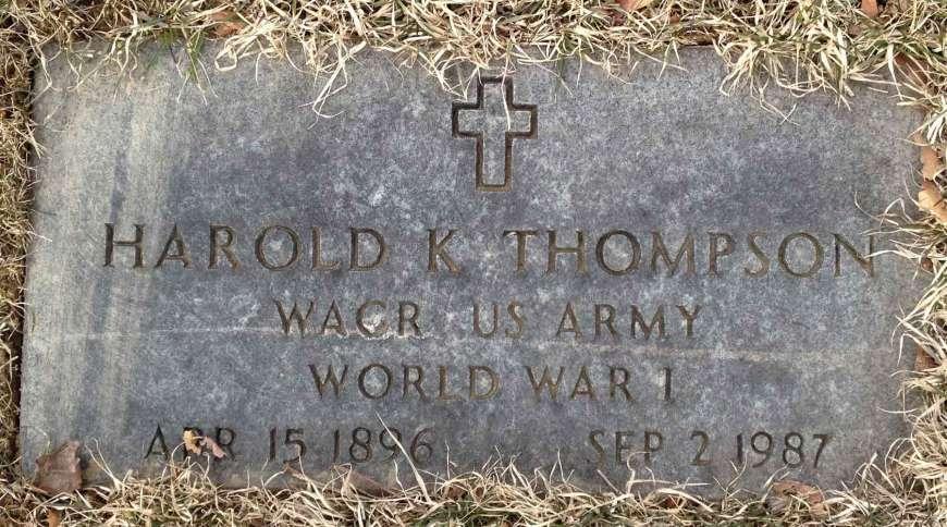 Harold Thompson's grave marker. He fought in World War I.