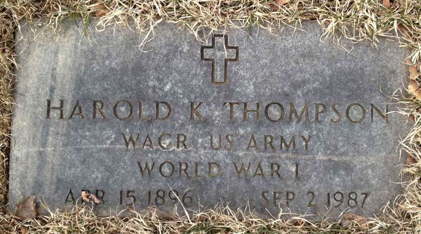 Harold Thompson's grave marker. He fought in World War I.
