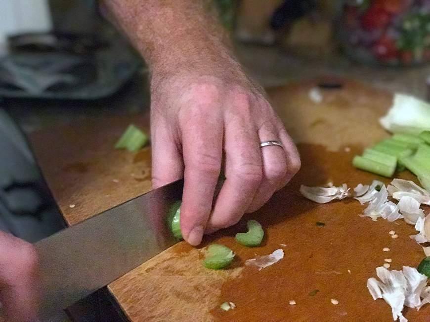 For pickled vegetables, chop celery.
