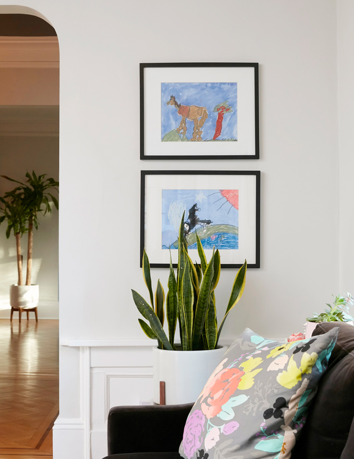 Original art by the Goldstein kids. A child's original art is priceless and displaying it in frames is a wonderful way to make them that this space is in part, theirs.