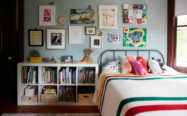 Jess Davis, owner of Nest Studio, Children's art work in bedroom interior design