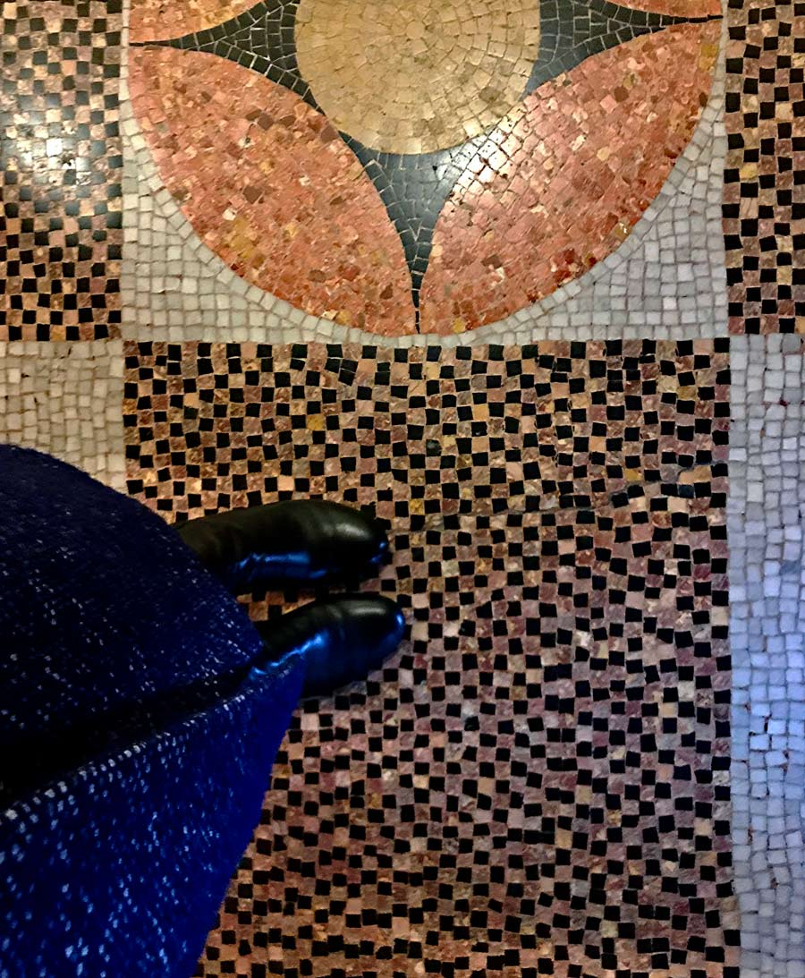 Black and coral mosaic floors in Gaudi's Vicens home in Barcelona, Spain.