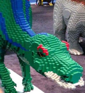 Green dino LEGO Kidsfest Hartford ~ photo by Edward Main