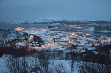 View over Kirkenes, spot the Hurtigruten!