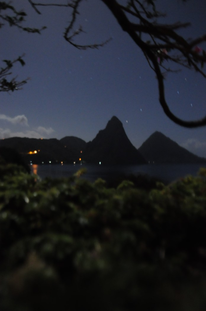 View of the Pitons at night