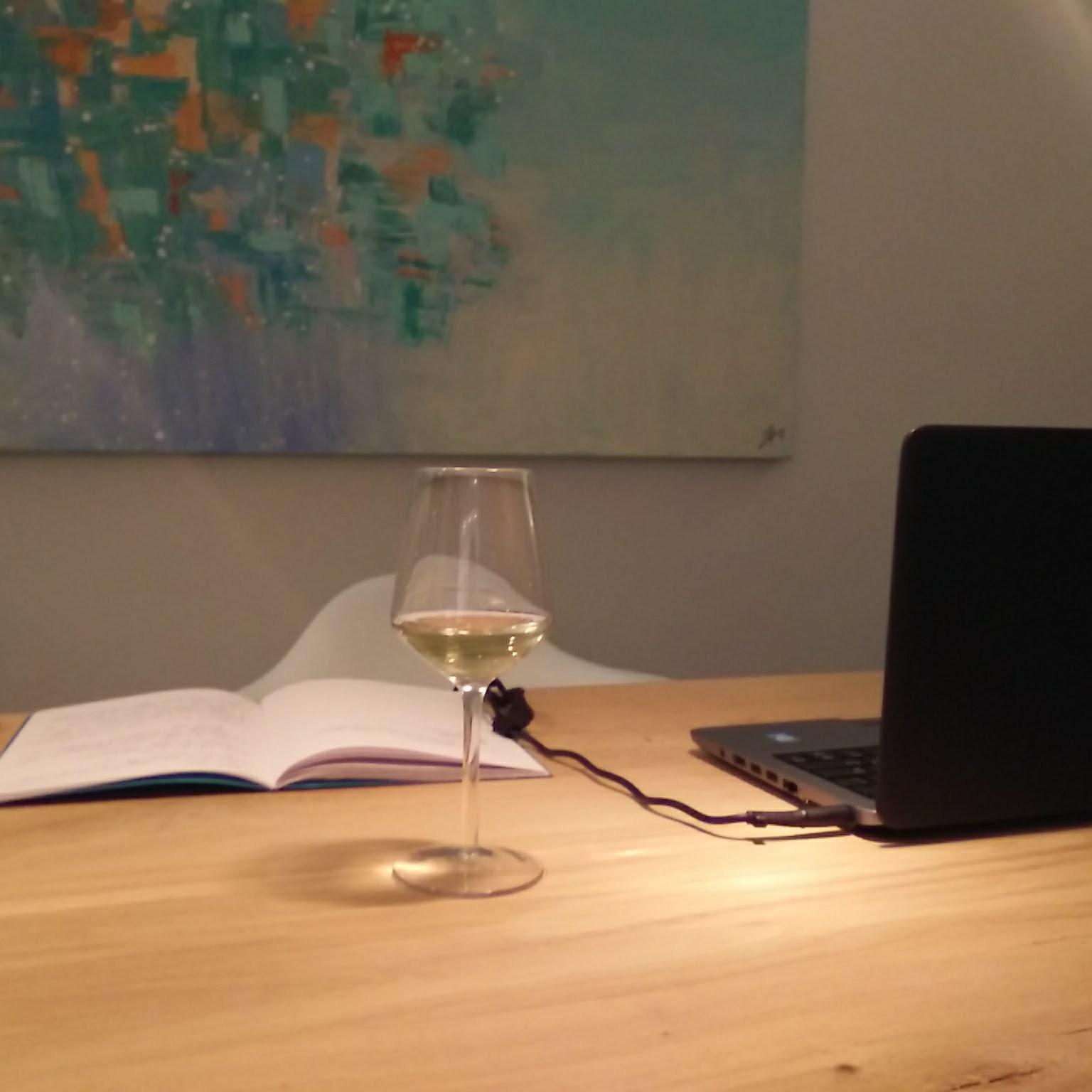 wijnblog in het glas