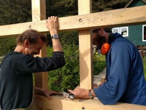 Volunteers Peter Forbes and Hank Lentfer constructing kayak racks. Inian's newly acquired kayak fleet was made possible by not one, but four local foundations: Rasmuson Foundation Leighty Foundation Skaggs Foundation Juneau Community Foundation (Great Blue Heron Fund).