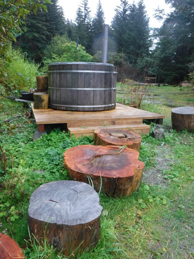 Completed wood-fired hot-tub.