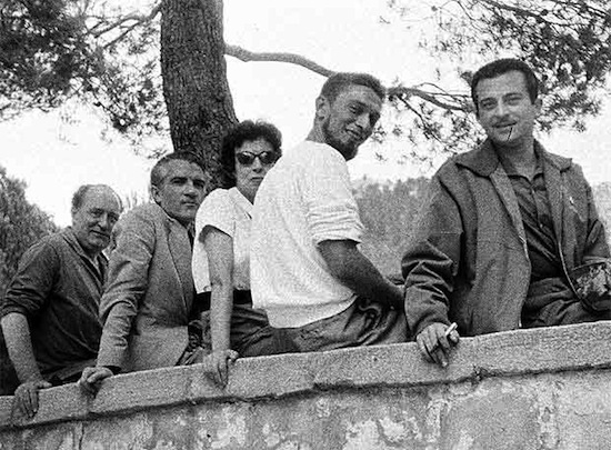 Gabriel Celaya con Blas de Otero, Asuncion Carandell, Carlos Barral y Jose_Agustin Goytisolo