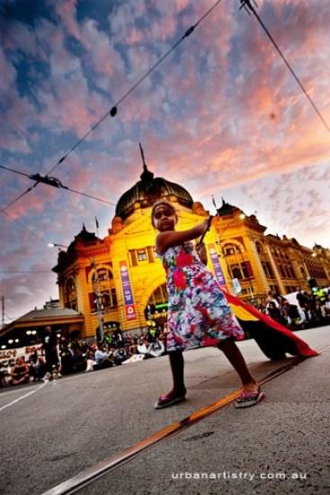 Manifestación por las comunidades de aborígenes en Melbourne