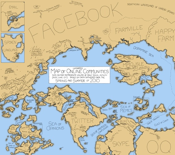 Mapa de las redes sociales, de Xkcd