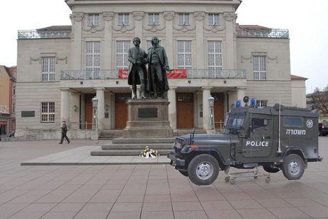 Ronen Eidelman Magav in front of the German National Theatre