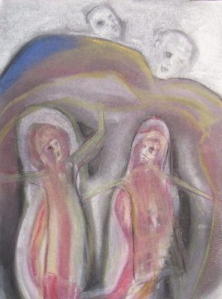 pastel drawing two women under a rock mocked by two men art for poem Field Marks
