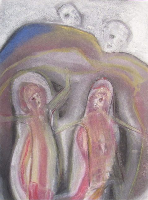 Pastel drawing of two women under rock jeering male faces above
